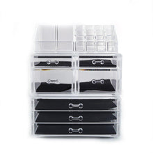 Load image into Gallery viewer, Explore offeir us stock clear acrylic stackable cosmetic makeup storage cube organizer jewelry storage drawers case great for bathroom dresser vanity and countertop 3 pieces set 4 small 3 large drawers