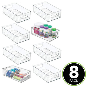 Top mdesign stackable plastic storage organizer container bin with handles for bathroom holds vitamins pills supplements essential oils medical supplies first aid supplies 3 high 8 pack clear
