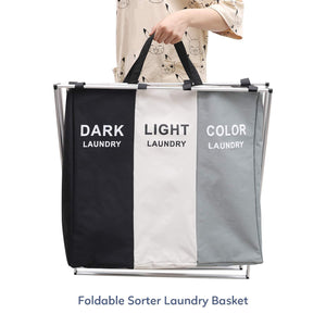 Great qf laundry hamper with 3 sections foldable sorter laundry basket for bedroom laundry room bathroom college apartment and closet
