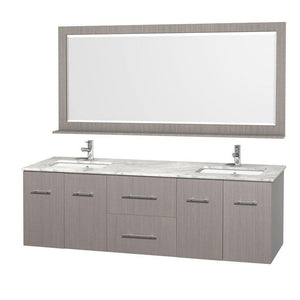 On amazon wyndham collection centra 72 inch double bathroom vanity in grey oak with white carrera top with square porcelain undermount sinks