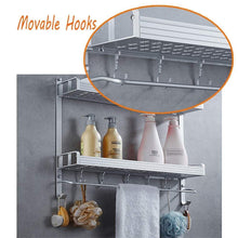 Load image into Gallery viewer, Purchase 2 layer space aluminum bathroom corner shelf shower caddy shampoo soap cosmetic storage basket kitchen spice rack holder organizer with towel bar and hooks rectangle double