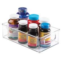 Load image into Gallery viewer, Storage mdesign stackable plastic storage organizer container bin with handles for bathroom holds vitamins pills supplements essential oils medical supplies first aid supplies 3 high 8 pack clear