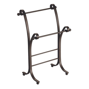 Organize with interdesign york metal free standing hand towel drying rack for master guest kids bathroom laundry room kitchen holds two 9 x 5 5 x 13 5 bronze