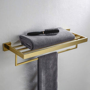 Discover turs 22 inch bathroom towel rack storage organizer hanger towel bar sus 304 stainless steel wall mount brushed gold q7008lj