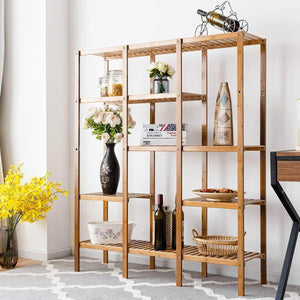 Best costway multifunctional bamboo shelf bathroom rack storage organizer rack plant display stand w several cell closet storage cabinet 5 tier