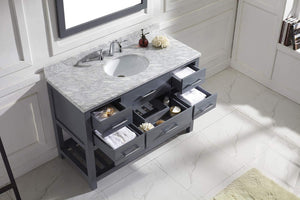 Top virtu usa caroline estate 48 inch single sink bathroom vanity set in grey w round undermount sink italian carrara white marble countertop no faucet 1 mirror ms 2248 wmro gr