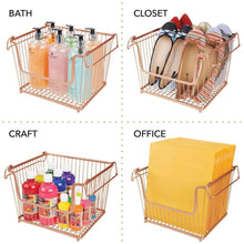 Load image into Gallery viewer, Related mdesign modern stackable metal storage organizer bin basket with handles open front for kitchen cabinets pantry closets bedrooms bathrooms large 6 pack copper