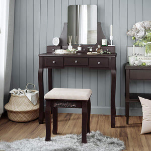 Top rated vasagle vanity table set with large frameless mirror makeup dressing table set for bedroom bathroom 5 drawers and 1 removable storage box cushioned stool walnut urdt25wn
