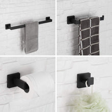 Load image into Gallery viewer, Related luckin towel bar set black modern bathroom accessories set matte black bath towel rack set with toilet paper holder 4 pcs