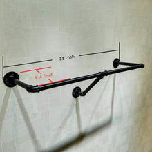 Load image into Gallery viewer, Budget warm van industrial retro wall mounted pipe shelf bathroom hanging towel rack black metal bedroom clothing rod garment rack one pipe shelves 31 5 l