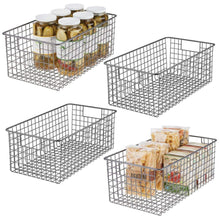 Load image into Gallery viewer, Discover the mdesign farmhouse decor metal wire food organizer storage bin basket with handles for kitchen cabinets pantry bathroom laundry room closets garage 16 x 9 x 6 in 4 pack graphite gray