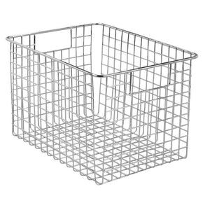 The best mdesign large farmhouse decorative metal wire storage basket bin with handles for organizing closets shelves and cabinets in bedrooms bathrooms entryways and hallways 8 high 4 pack chrome
