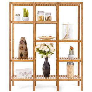 Great autentico 5 tiers design multifunctional bamboo shelf storage organizer plant rack display stand solid construction waterproof moistureproof perfect for bathroom balcony kitchen indoor outdoor use