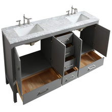 Load image into Gallery viewer, Save eviva evvn412 72gr aberdeen 72 transitional grey bathroom vanity with white carrera countertop double square sinks combination
