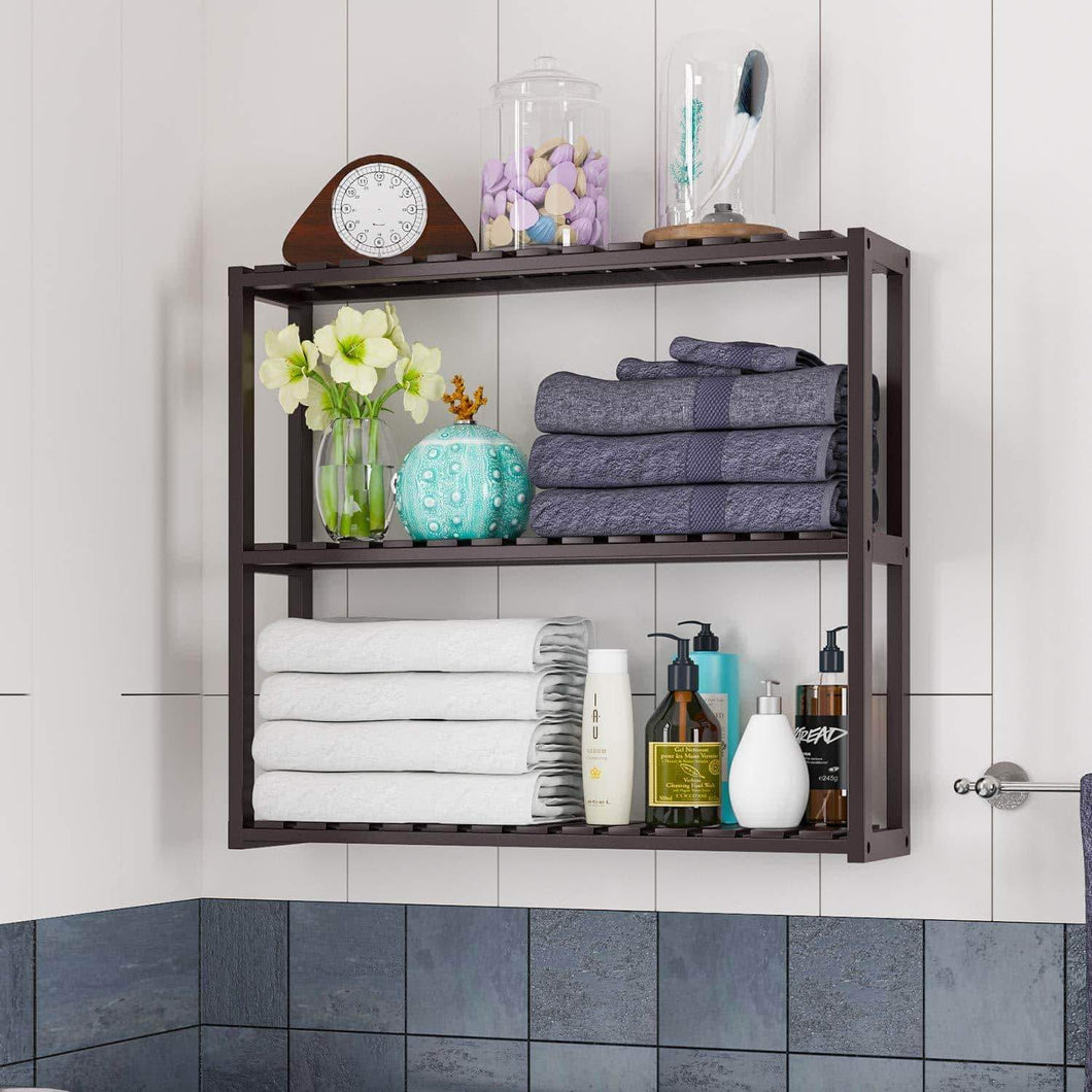 Shop here homfa bamboo shelf 3 tier utility storage organizer adjustable layer rack bathroom towel shelves multifunctional kitchen living room holder wall mounted retro color