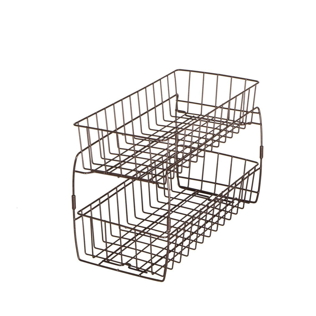 Results smart design 2 tier stackable pull out baskets sturdy wire frame design rust resistant vinyl coat for pantries countertops bathroom kitchen 18 x 11 75 inch bronze