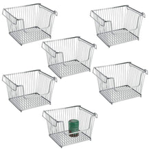 Load image into Gallery viewer, Shop mdesign modern stackable metal storage organizer bin basket with handles open front for kitchen cabinets pantry closets bedrooms bathrooms large 6 pack silver