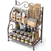 Load image into Gallery viewer, Great packism storage rack 2 tier bathroom organizer foldable spice rack for kitchen countertop jars storage organizer counter shelf bronze