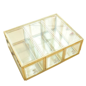 Best seller  hersoo large mirror glass top dresser make up organizer jewelry cosmetic display stackable cube 6 drawers set dresser storage for vanity with lid bathroom accessories brushes container 3drawerg