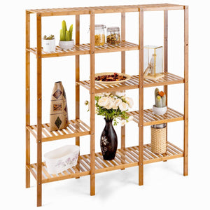 Heavy duty autentico 5 tiers design multifunctional bamboo shelf storage organizer plant rack display stand solid construction waterproof moistureproof perfect for bathroom balcony kitchen indoor outdoor use