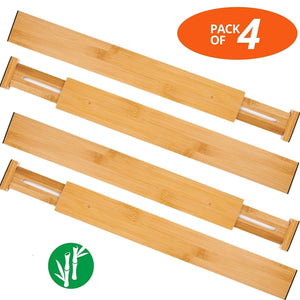 Explore oberhoffe adjustable expandable dividers bamboo drawer divider drawer organizers 100 natural bamboo best for kitchen dresser bedroom bathroom desk set of 4