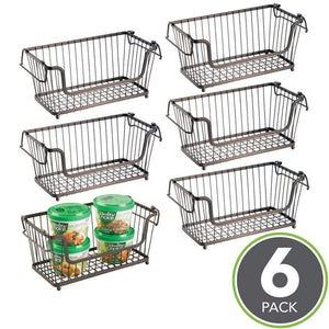 Selection mdesign modern farmhouse metal wire household stackable storage organizer bin basket with handles for kitchen cabinets pantry closets bathrooms 12 5 wide 6 pack bronze