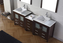 Load image into Gallery viewer, On amazon virtu usa dior 82 inch double sink bathroom vanity set in espresso w square vessel sink white engineered stone countertop single hole polished chrome 2 mirrors kd 70082 s es