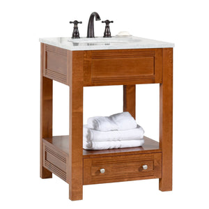 Buy now maykke oxford 25 transitional bathroom vanity set in cinnamon marble vanity top carrara white ceramic undermount sink with 8 widespread faucet holes in white lba5024001