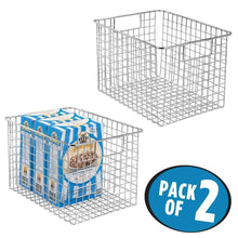 Load image into Gallery viewer, Select nice mdesign farmhouse decor metal wire food storage organizer bin basket with handles for kitchen cabinets pantry bathroom laundry room closets garage 12 x 9 x 8 2 pack chrome