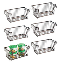 Load image into Gallery viewer, Related mdesign modern farmhouse metal wire household stackable storage organizer bin basket with handles for kitchen cabinets pantry closets bathrooms 12 5 wide 6 pack bronze