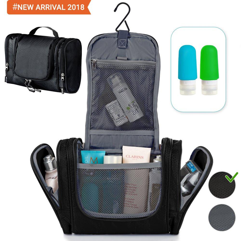 Hanging Travel Toiletry Bag - Toiletry Kit for Women Men - Shower Bag - Large Mens Womens Cosmetic Makeup Toiletries Organizer - Best Traveling Gym Toiletry Bathroom Hygiene Bags + Travel Bottles Set