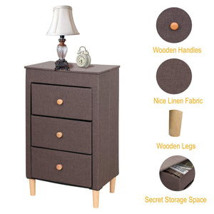 Top itidy 3 drawer dresser premium linen fabric nightstand bedside table end table storage drawer chest for nursery closet bedroom and bathroom storage drawer unit no tool requried to assemble brown