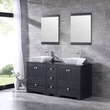 Load image into Gallery viewer, Online shopping sliverylake 60 bathroom vanity and sink combo bathroom cabinet black countertop sink bowl w mirror set ceramic vessel black trapeziform