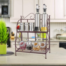 Load image into Gallery viewer, Home packism storage rack 2 tier bathroom organizer foldable spice rack for kitchen countertop jars storage organizer counter shelf bronze