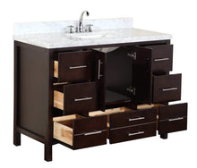 Load image into Gallery viewer, Purchase kitchen bath collection kbc039brcarr california bathroom vanity with marble countertop cabinet with soft close function and undermount ceramic sink carrara chocolate 48