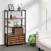 Load image into Gallery viewer, Discover the best vasagle industrial storage cabinet bookshelf bookcse bathroom floor cabinet with 3 shelves and 2 shutter doors in living room study bedroom multifunctional rustic brown ulsc75bx