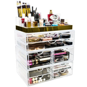 Amazon sorbus acrylic cosmetic makeup and jewelry storage case display with gold trim spacious design great for bathroom dresser vanity and countertop gold set 2