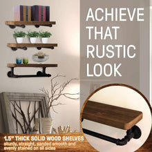 Load image into Gallery viewer, Storage organizer industrial pipe shelves with towel rack diy floating wood shelves and metal bracket pipes rustic mounted wall shelf for bathroom kitchen living room bedroom decorative farmhouse shelving units