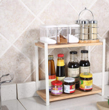 Load image into Gallery viewer, Budget garwarm 2 tiers kitchen natural wooden spice rack standing rack kitchen bathroom bedroom countertop storage organizer spice jars bottle shelf holder rack
