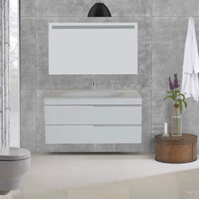 Load image into Gallery viewer, Amazon giallo rosso argento 48 inch bathroom vanity and sink combo with mirror contemporary design wall mount glossy white cabinet set single sink and double drawer