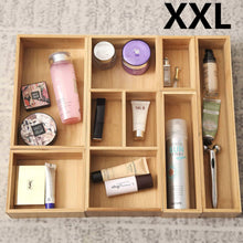Load image into Gallery viewer, The best xxl set of 6 bamboo drawer storage box desk organizer 9 compartment organization tray holder 100 bamboo drawer divider 18 x 15 x 2 5 for office bathroom bedroom kitchen children room