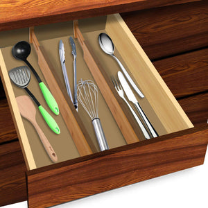 Latest luckyshe bamboo drawer dividers adjustable spring kitchen drawer dividers expandable eco friendly drawer organizers and dividers for kitchen dresser bathroom desk bedroom pack of 4