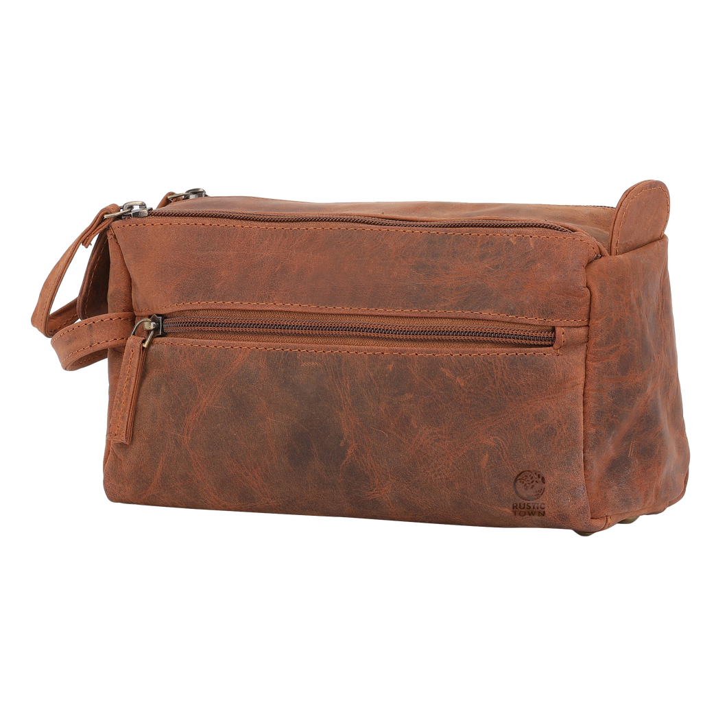 Genuine Leather Toiltrey Bag Dopp Kit (Brown)