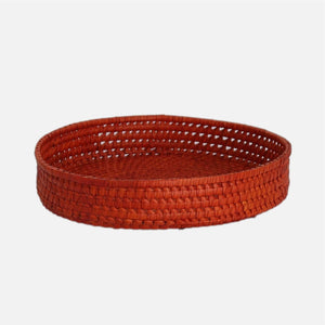 Palmyrah  Circular Tray Orange