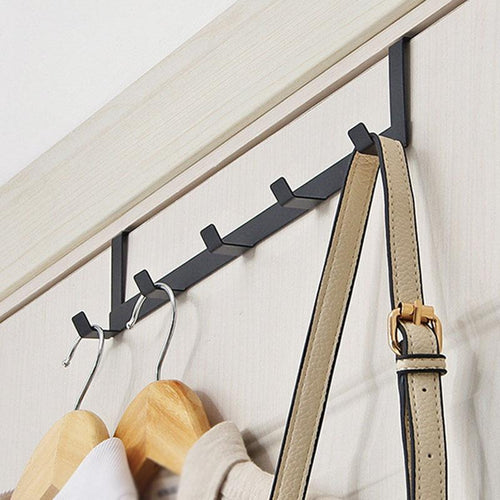 Over The Door 5 Hook Bathroom Organizer Rack Clothes Coat Hat Towel Hanger New