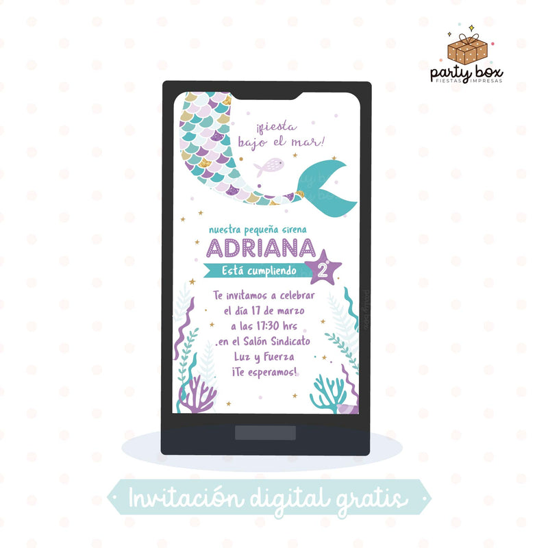 descargar gratis invitacion digital tema sirena