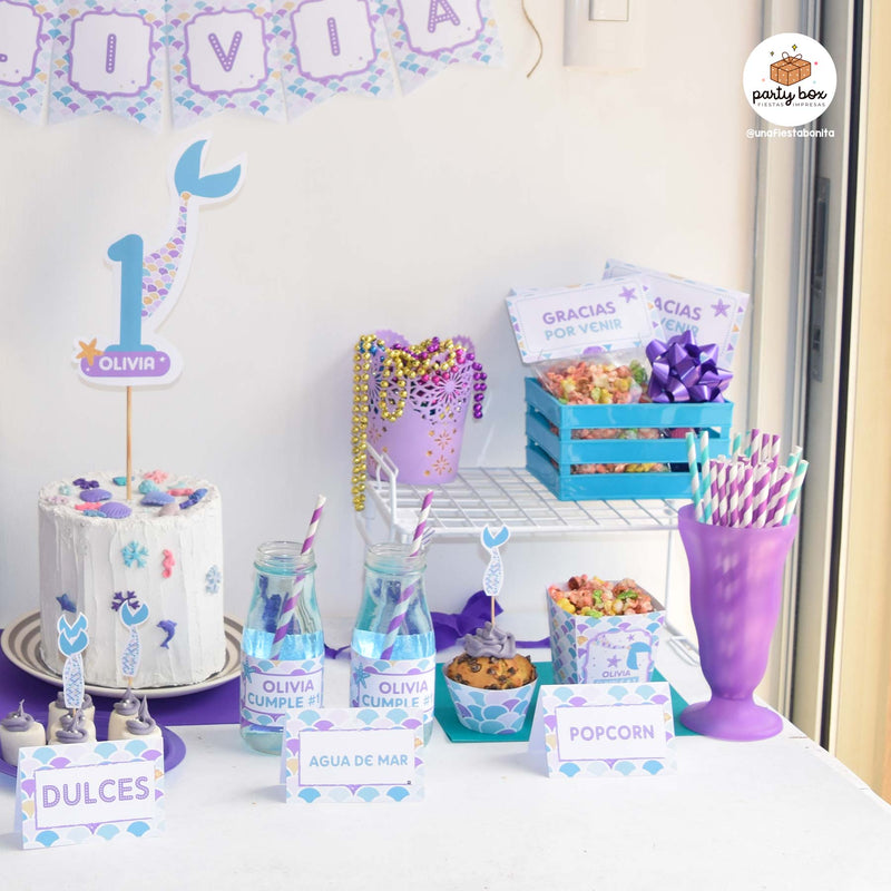 pack decoraciones candy bar tema sirenas