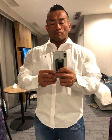 Hidetata Yamagishi IFBB Pro Bodybuilder Wearing Tailored Titans Hide Shirt