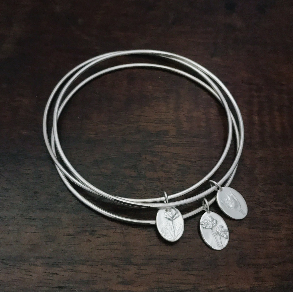 Petite charm bangle stack