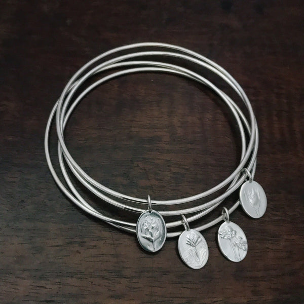 Sterling Silver Bangle Stack - Flower & Fable